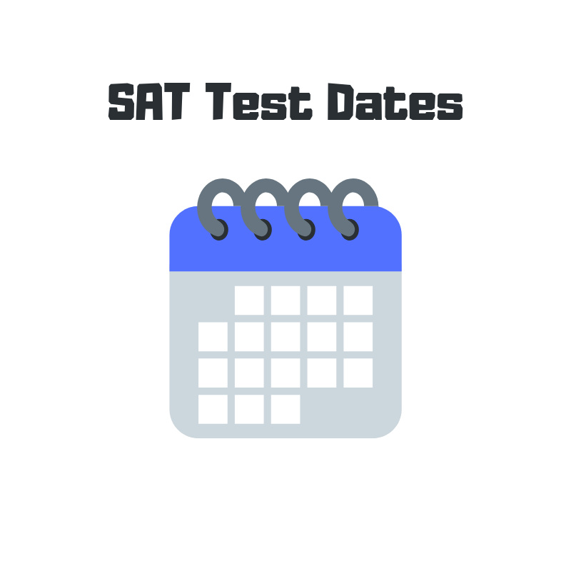 """Illustration of a calendar with the text """"SAT Test Dates"""" above it"""