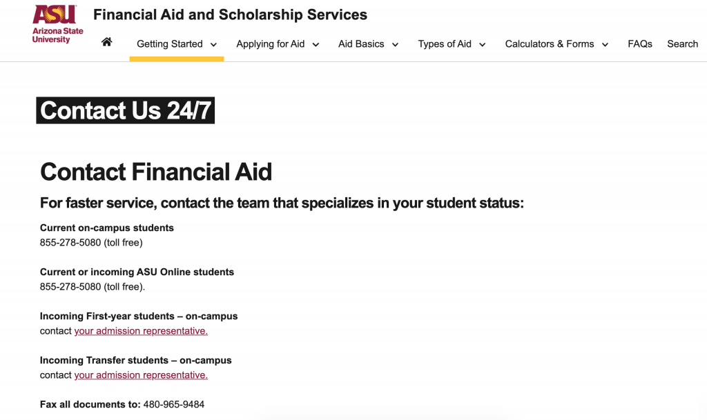 ASU financial aid