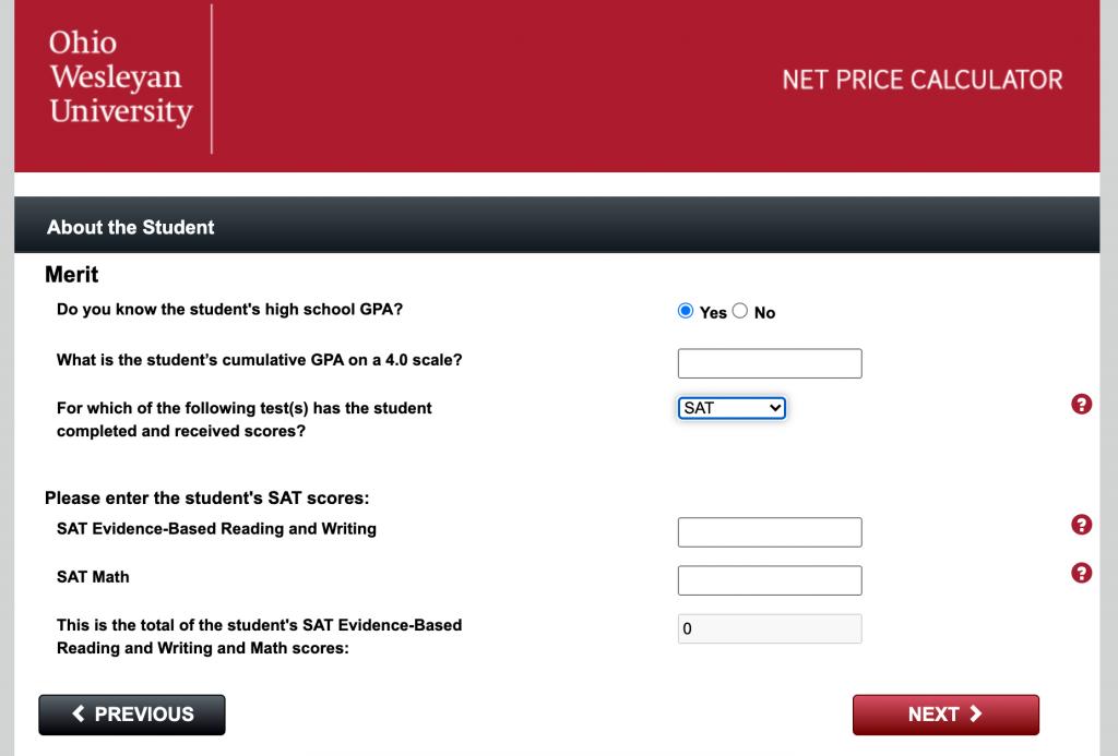 college net price calculator
